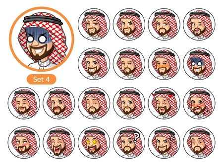 The fourth set of Saudi Arab man cartoon character design avatars with different facial emotions and expressions, happy, bored, scary, uptight, disgust, amaze, silly, mad, etc. Ilustração