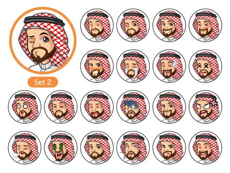 The second set of Saudi Arab man cartoon character design avatars with different facial emotions and expressions, sad, tired, angry, die, mercenary, disappointed, shocked, tasty, etc.