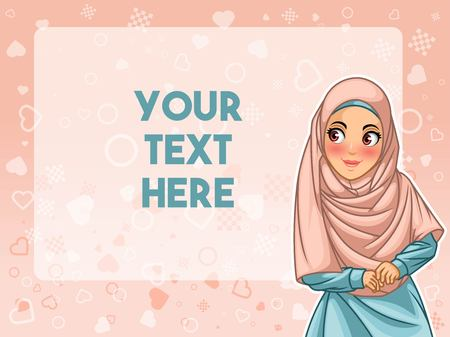 Muslim woman wearing hijab veil face looking an advertising, against pink background, vector illustration. Vettoriali