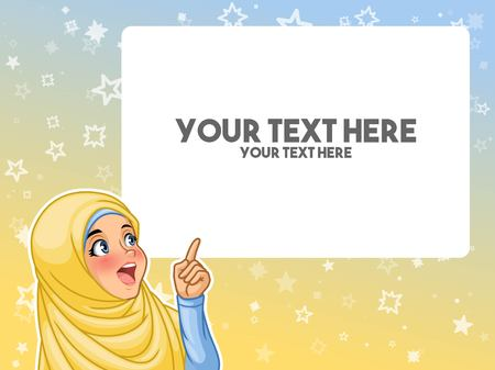 Muslim woman wearing headscarf hijab excited pointing finger up at blank copyspace cartoon character design Ilustração