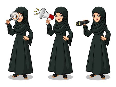 Set of Arab businesswoman in black dress cartoon character design, looking through binoculars, holding magnifying glass, and talking yelling shouting announcement with megaphone, isolated against white background.