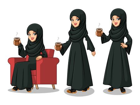 Set of Arab businesswoman in black dress cartoon character design making a break relaxing with holding drinking a coffee tea, isolated against white background. Illustration