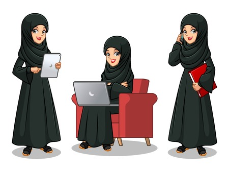 Set of Arab businesswoman in black dress cartoon character design working on gadgets, tablet, laptop computer, and mobile phone, isolated against white background.