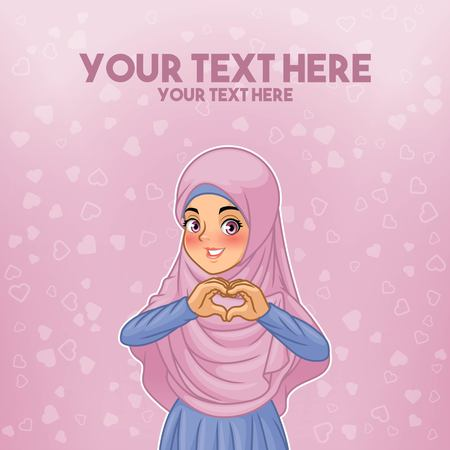 Young muslim woman wearing hijab veil making heart shape with her hands cartoon character design, against purple background, vector illustration. Illustration