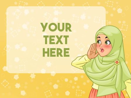 Veiled young muslim woman shout using her hands, cartoon character design, against yellow background, vector illustration. Stock Illustratie