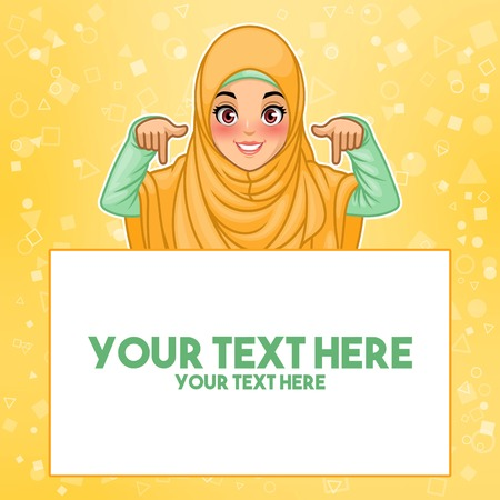 Young muslim woman wearing hijab veil pointing finger down at copy space, cartoon character design, against yellow background, vector illustration. 일러스트