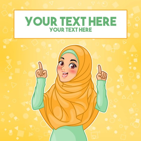 Young muslim woman wearing hijab veil pointing finger up at copy space, cartoon character design, against yellow background, vector illustration.  イラスト・ベクター素材
