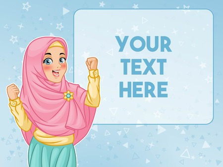 Young muslim woman wearing hijab veil show a successful victory sign gesture with hands raised, cartoon character design, against blue background, vector illustration.