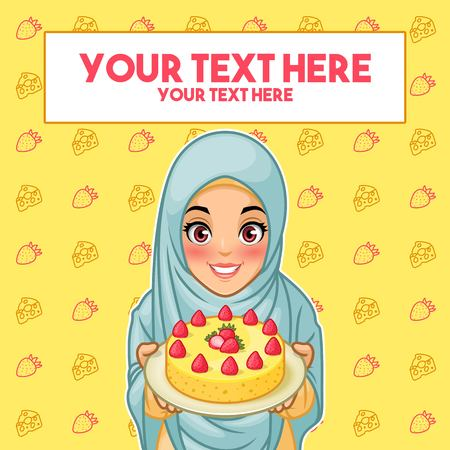 Young muslim woman wearing hijab veil holding a plate of dessert, cartoon character design, against yellow background, vector illustration.