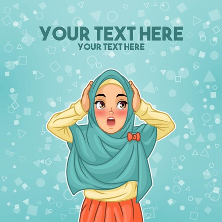 Young muslim woman wearing hijab veil surprised with holding her head, cartoon character design, against tosca background, vector illustration. Vettoriali