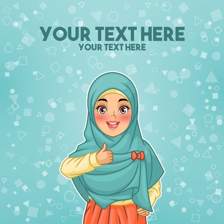 Young muslim woman wearing hijab veil giving a thumbs up gesture of approval and success, cartoon character design, against tosca background, vector illustration.