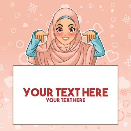 Junge muslimische Frau, die den Hijab-Schleier trägt, der Finger unten auf Kopienraum zeigt, Karikaturcharakter-Entwurfsillustration.