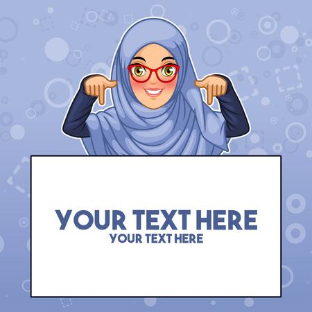 Young muslim woman wearing hijab and glasses pointing finger down at copy space, cartoon character design illustration.