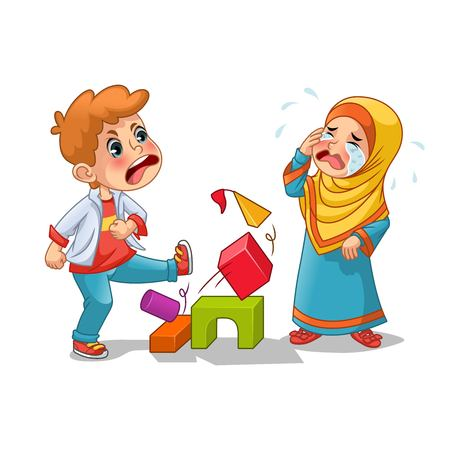 Muslim girl cry because boy destroying her blocks cartoon character design vector illustration, isolated against white background.