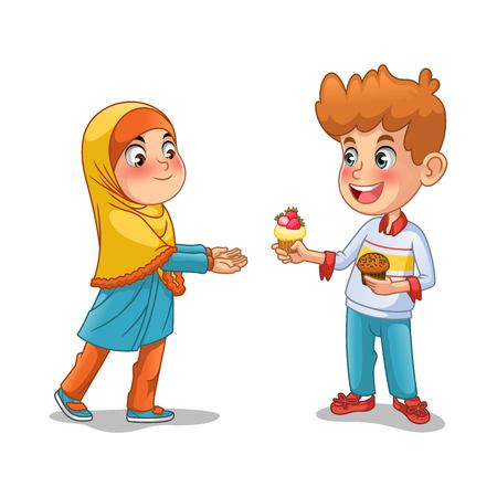 Boy give the cupcake to the muslim girl cartoon character design vector illustration, isolated against white background. Illustration