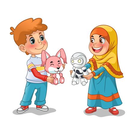 Muslim girl and boy exchanging gifts and making friends cartoon character design vector illustration, isolated against white background.