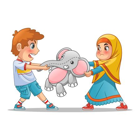 Muslim girl and boy fighting over a doll cartoon character design vector illustration, isolated against white background.