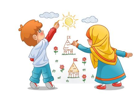 Muslim girls and boy draw landscapes on the walls, cartoon character design, vector illustration, isolated against white background.