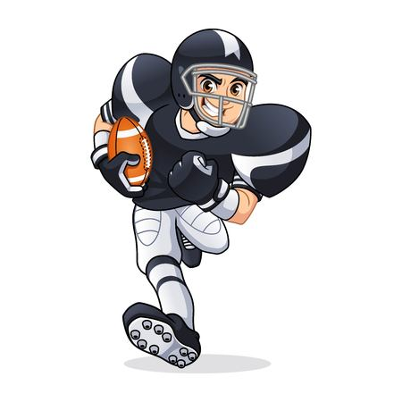 American football player running cartoon character design vector illustration Ilustrace