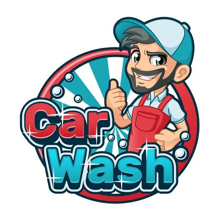 Car wash cartoon character design vector illustration