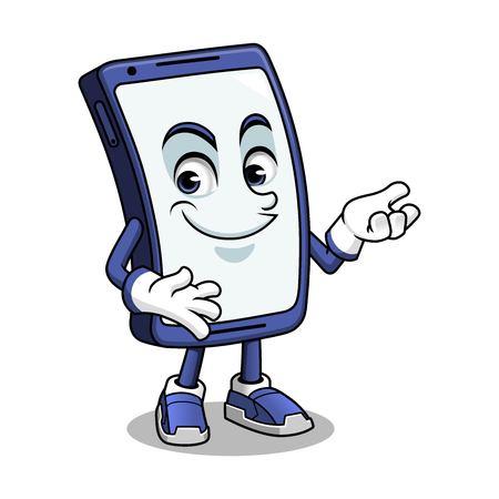 Smartphone mascot presenting cartoon character design vector illustration