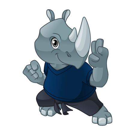 Rhinoceros with self defense pose cartoon character design vector illustration