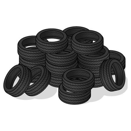 Pile of tire cartoon design vector illustration
