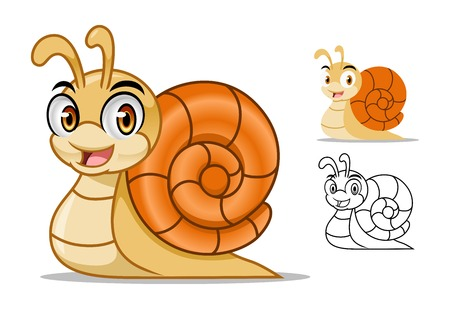 Snail cartoon character mascot design, including flat and line art design, isolated on white background, vector clip art illustration. Illustration