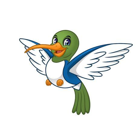 Hummingbird cartoon character design, isolated on white background, vector clip art illustration. Ilustrace