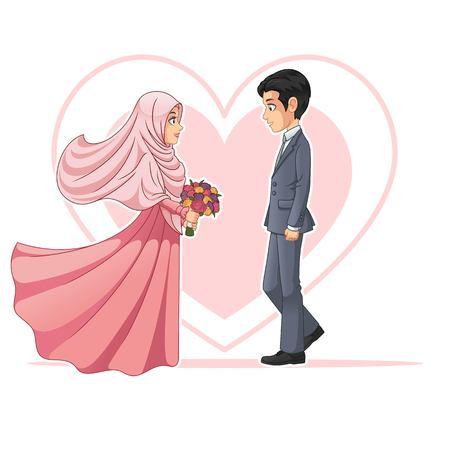 Moslim bruid en bruidegom kijken elkaar cartoon Characterdesign, geïsoleerd op een witte achtergrond, vector illustraties illustratie.