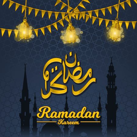 Islamic Greeting Card Design, Ramadan Kareem in Golden Arabic Calligraphy with Festival Flags, Lantern and Silhouette of Prophet Muhammads Mosque Elements on Geometry Background, Vector Illustration.  イラスト・ベクター素材