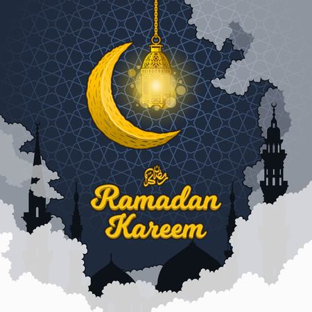 Islamic Greeting Card Design, Ramadan Kareem in 3D Cartoon Word with Silhouette of Prophet Muhammad's Mosque, Clouds, Crescent Moon and Luminous Lantern on The Geometry Background, Vector Illustration. Reklamní fotografie - 120253684