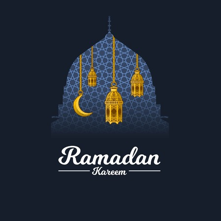 Islamic Greeting Card Design, Ramadan Kareem with Crescent Moon and Lantern on The Geometry Background, Clipping Mask with Prophet Muhammads Mosque Dome, Negative Space Design, Vector Illustration.