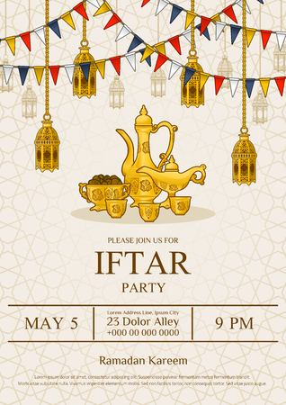 Islamic Iftar Party Invitation Flyer Card Design, Oriental Teapot Set and Bowl of Dates with Ramadan Decoration in Cartoon Illustration on The Geometry Background, Vector Template.