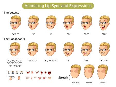 Man with blonde hair cartoon character design for animating lip sync and expressions, vector illustration.