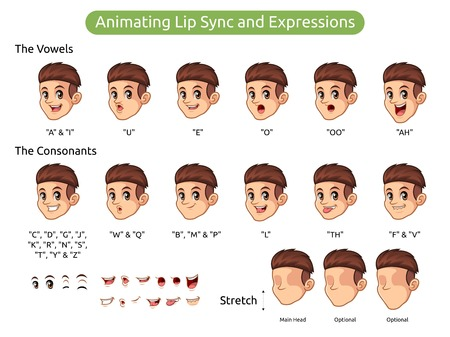 Man with red hair cartoon character design for animating lip sync and expressions, vector illustration.  イラスト・ベクター素材