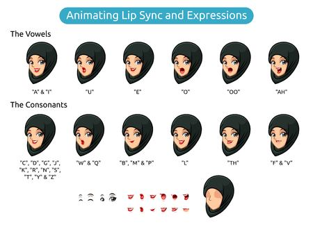 Muslim woman with hijab cartoon character design for animating lip sync and expressions, vector illustration.  イラスト・ベクター素材