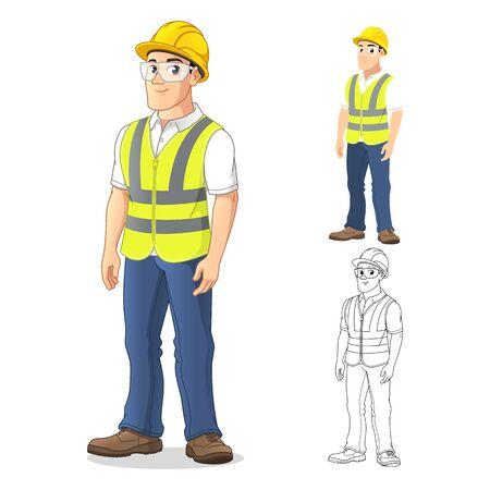 Uomo con equipaggiamento di sicurezza in piedi dritto, con le braccia al suo fianco, disegno del personaggio dei cartoni animati, compresi disegni di arte piatta e linea, illustrazione vettoriale, in sfondo bianco isolato.