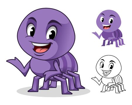 Adorable Spider Cartoon Character Design, Including Flat and Line Art Designs, Vector Illustration, in Isolated White Background.  イラスト・ベクター素材
