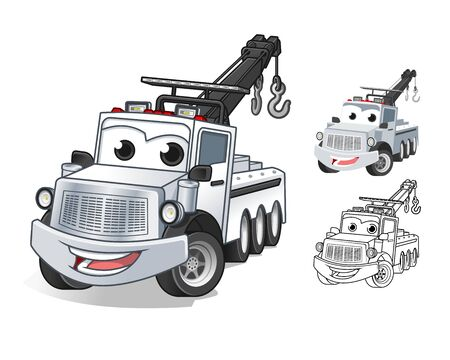 Happy Tow Truck Cartoon Character Design, Including Flat and Line Art Designs, Vector Illustration, in Isolated White Background.  イラスト・ベクター素材