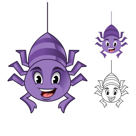 Adorable Spider Hanging on The Cobweb Thread Cartoon Character Design, Including Flat and Line Art Designs, Vector Illustration, in Isolated White Background.