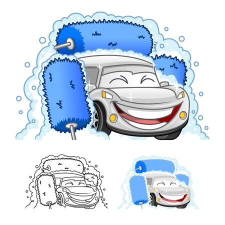 Happy Car Cartoon Character Design in Automatic Tunnel Car Wash Systems, Including Flat and Line Art Designs, Vector Illustration, in Isolated White Background. Illustration