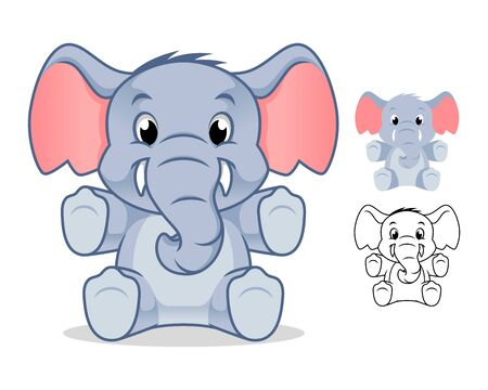 Adorable Elephant Doll Cartoon Character Design, Including Flat and Line Art Designs, Vector Illustration, in Isolated White Background.