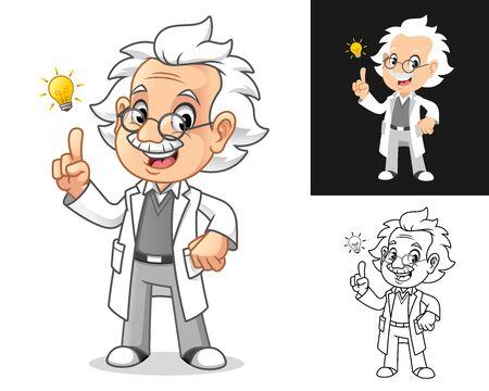 Penser le vieil homme professeur avec des lunettes Obtenez une idée avec la conception de personnage de dessin animé d'ampoule, y compris les conceptions d'art à plat et au trait, illustration vectorielle, sur fond blanc isolé.