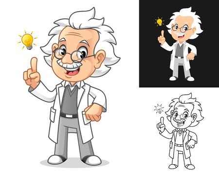 Thinking Old Man Professor with Glasses Get an Idea with Light Bulb Cartoon Character Design, Including Flat and Line Art Designs, Vector Illustration, in Isolated White Background.