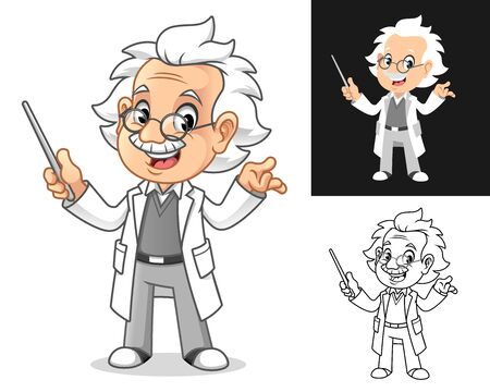 Happy Old Man Professor with Glasses Holding a Pointer Stick Cartoon Character Design, Including Flat and Line Art Designs, Vector Illustration, in Isolated White Background. Иллюстрация