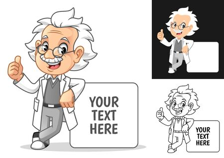 Happy Old Man Professor with Glasses Leaning on Empty Board Cartoon Character Design, Including Flat and Line Art Designs, Vector Illustration, in Isolated White Background.