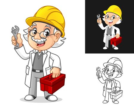 Happy Old Man Professor Mechanic with Glasses and Hard Hat Holding Wrench and Toolbox Cartoon Character Design, Including Flat and Line Art Designs, Vector Illustration, in Isolated White Background.