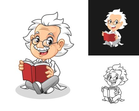 Happy Old Man Professor with Glasses Reading a Book Cartoon Character Design, Including Flat and Line Art Designs, Vector Illustration, in Isolated White Background. Ilustração