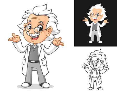Confused Old Man Professor with Shrug Gesture Cartoon Character Design, Including Flat and Line Art Designs, Vector Illustration, in Isolated White Background. Ilustração